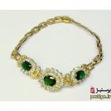 دستبند زنانه روکش طلا طرح سه گل