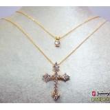 گردنبند صلیب نگین دار دو زنجیره